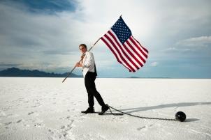 U.S. flag & ball and chain